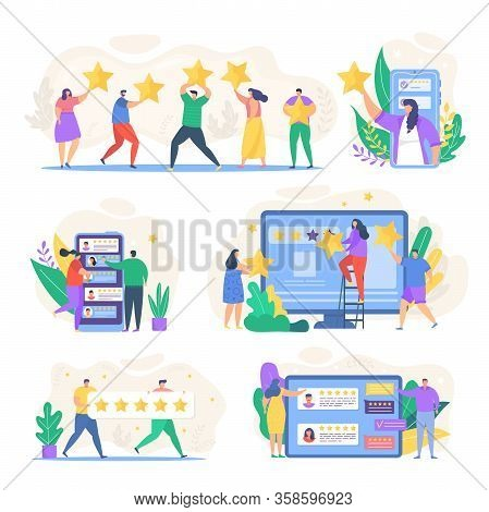 Review Feedback Vector Illustration. Cartoon Tiny People Reviewing Rating Online In Smartphone Or Co