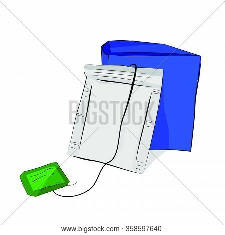 Vector Hand Draw Sketch, Mockup Blank Instant Tea Bag And Box, Isolated On White.