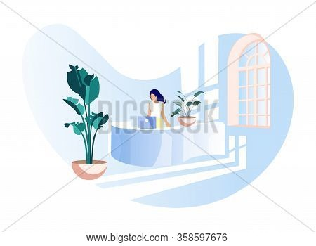 Elegant Faceless Female Office Assistant In Formal Wear At Work. Business Administration And Lobby S