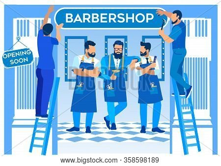 Group Of Bearded Barbers Stand In Barbershop Gesturing, Workers Hang Signboard On Entrance To Gentle