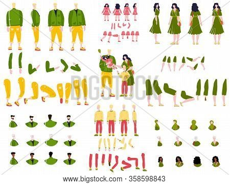 Constructor Animation Kit Family Set Creation Kit With Parents, Children And Grandparents Characters
