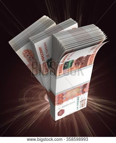 Stack Of Russian Ruble (isolated With Clipping Path) 3d Rendering