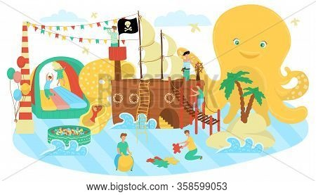 Kids Zone, Play Area For Children Cartoon Vector Illustration. Kids Zone Playground With Pirate Ship
