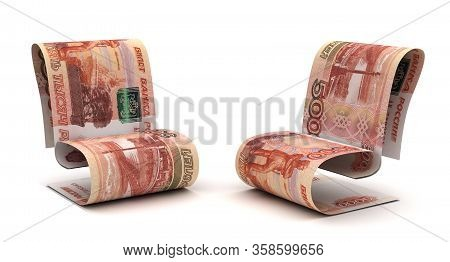 Managing Russian Ruble (isolated On White Background) 3d Rendering