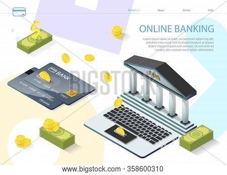 Prompt Poster Convenient Online Banking Isometric. Banner Registration Banking Product By Card Numbe