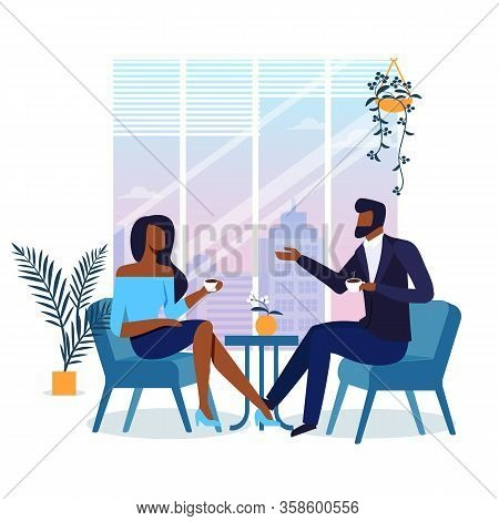Romantic Date In Cafe Flat Vector Illustration. Young Girlfriend And Boyfriend Drinking Coffee Toget