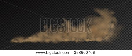 A Brown Dust Plume Cloud On A Transparent Background With Copy Space. Vector Illustrstion