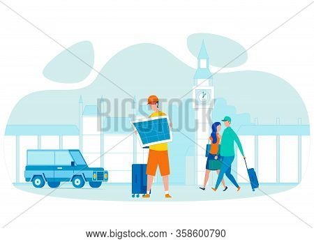 Tourist Holding City Map Flat Vector Character. Great Britain Abroad Traveling, Holiday Vacation. Lo