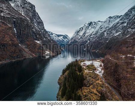 Naeroyfjord in Gudvangen village, Norway