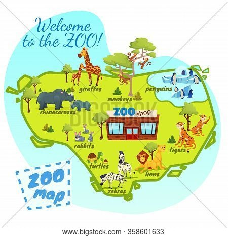 Welcome To Zoo Map, Nature Infographics Elements With Giraffe, Lions, Monkey, Tigers, Rhinoceroses,