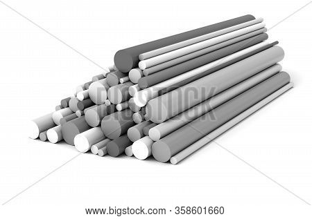 Plastic Rods On White  Background 3d Rendering