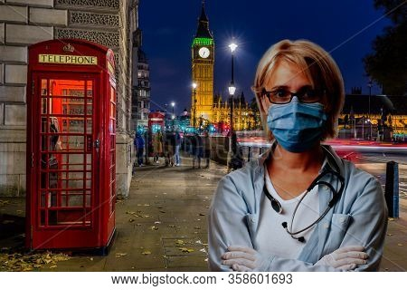 Coronavirus protection: Stay at home concept with London panorama. Medical doctor in streets of London.