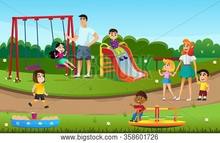 Cartoon Children Boy Girl Play At Playground Vector Illustration. Mother Father With Son Daughter In