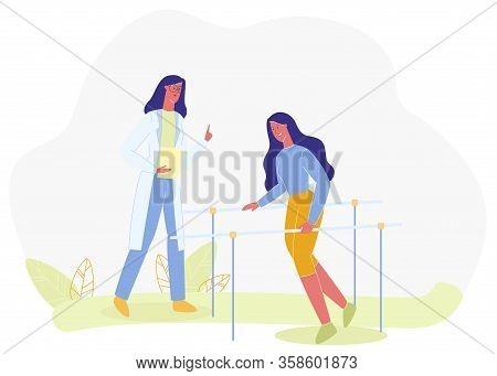 Nurse Assist Woman On Walking Bars Vector Illustration. Parallel Rails Medical Equipment. Disabled R