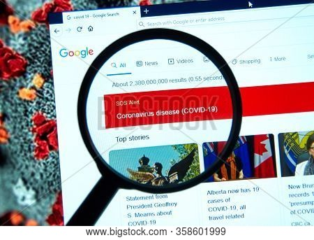 Montreal, Canada - March 11, 2020: Sos Alert Regarding Coronavirus Covid-19 On Google. Coronavirus D