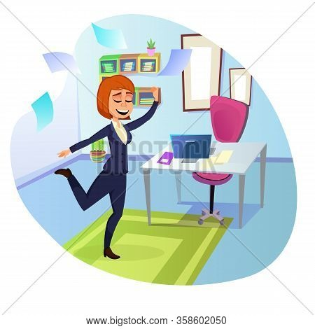 Successful Businesswoman, Top Manager, Dressed Formally, Dancing In Her Office, Pleased With Herself