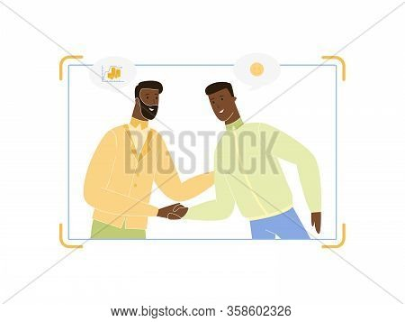 Young And Adult Dark Skinned Business Men Couple Shaking Hands At Viewfinder Screen, Shot Of Success