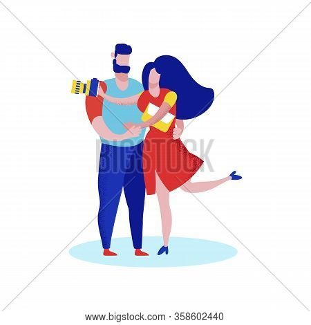 Young Happy Couple Travelers Isolated On White Background. Man And Woman With Photo Camera Holding H