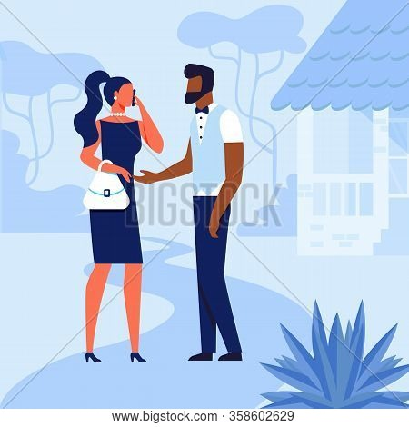 Young Woman With Servant Flat Vector Illustration. Lady In Fashionable Dress And Manservant In Unifo