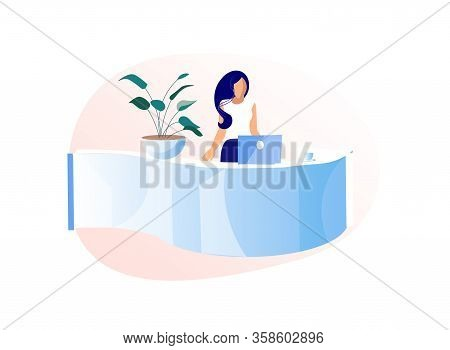 Young Woman Receptionist Stand Behind Of Desk With Laptop Isolated On White Background, Girl Adminis