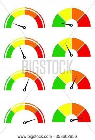 Creative Illustration Of Rating Customer Satisfaction Meter. Different Emotions Art Design From Red