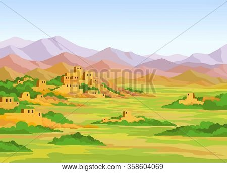 Animation  Colorful Landscape, Ruins Of The Ancient City On A  Background Of Mountains. Vector Illus