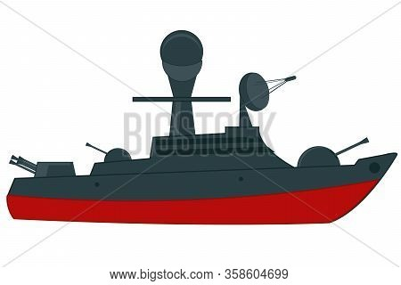 Vector Illustration Of The Military Cruiser With Weapon