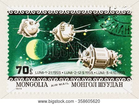 Seattle Washington - March 29, 2020: Close Up Of Postage Stamp From Mongolia Commemorating The Launc