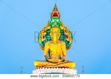 Golden Buddha Thailand.big Buddha Statue In The Public Temple At Night.