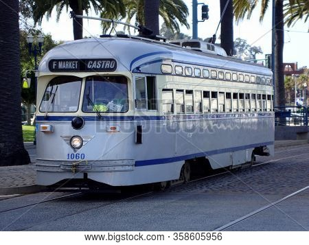 San Francisco - March 26, 2010: Grey Streetcar No. 1060 Philadelphia Rapid Transit Company Historic