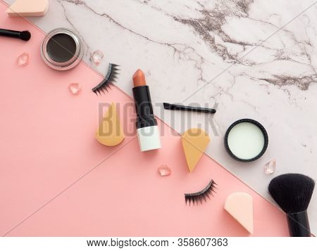 Female Fashion Beauty Blogger Workspace. Makeup Tools, Cosmetics Products,  Isolated On Two Colored