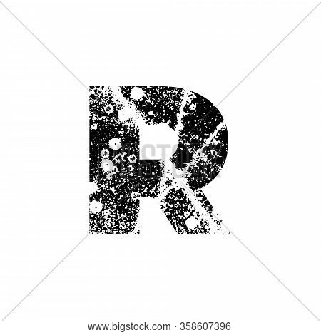 Painted Letter R. Abstract Handmade Sans Serif Typeface. Distress Textured Font. Ink Splatter Surfac
