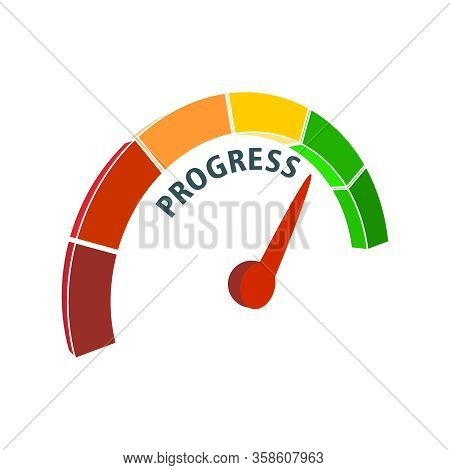 Color Tachometer, Speedometer Icon, Performance Measurement Symbol. Scale With Arrow. Progress Measu