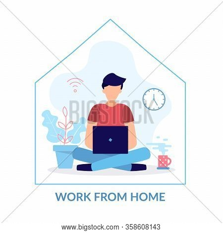 A Man With A Computer Works From Home. Stay At Home, Programming, Remote Work, Freelancing. Quaranti
