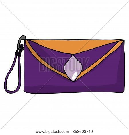 Women's Hand Drawn Bag. Fashionable And Glamorous Clutch