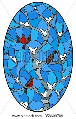Illustration In Stained Glass Style With Bullfinches On Branches Of A Birch Tree Against The Sky And