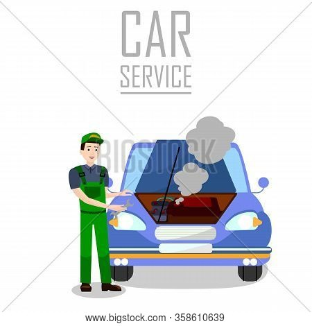 Vehicle Breakdown Trouble Flat Banner Template. Professional Car Service Typography. Cartoon Repairm