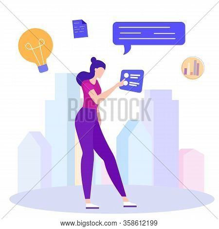 Idea Generation. Creating Business Ideas. New Technologies. Vector Illustration. Turn Into Reality T