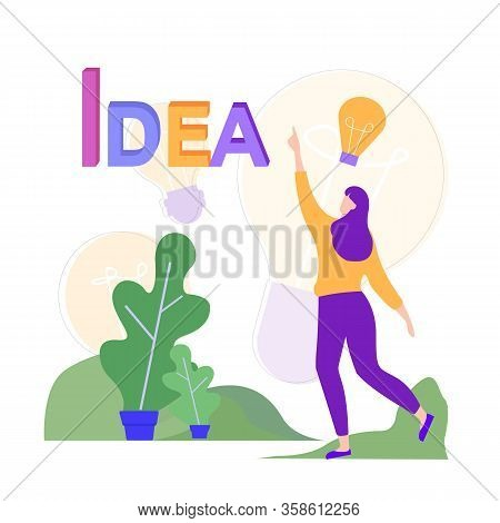 Woman In Park Has New Idea. Idea Generation. Creating Business Ideas. Turn Into Reality Thoughts. Us
