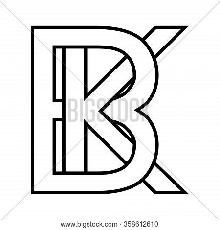 Logo Sign Bk, Kb Icon Sign Two Interlaced Letters B K Vector Logo Bk, Kb First Capital Letters Patte