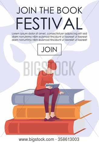 Vertical Invitation Banner. Flat Cartoon Woman Reader Character Sitting On Book Stack And Reading. E