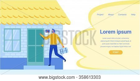 Landing Page Offering Modern Facial Recognition System For Smart House. Cartoon Building And Flat Ma