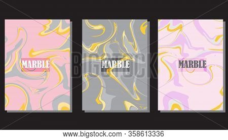 Flat Marble Pattern Binder Cover Layout, Journal Design Template Vector Set. Marble Background Patte