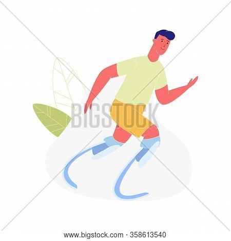 Active Amputee Man Training. Athlete With Legs Prosthesis, Disabled Character With Amputated Limbs,
