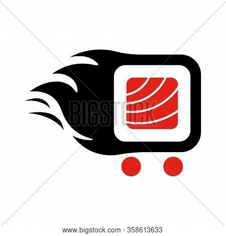Sushi Delivery Logo Template. Vector Illustration Sushi Roll Sign, Symbolizes The Fast Delivery. Eps