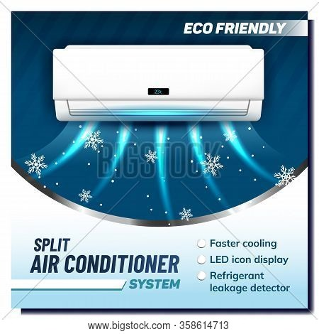 Split Air Conditioner System Promo Banner Vector. Air Condition Eco Friendly Device. Faster Cooling,