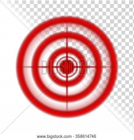 Aim Target Circle Pain Localization Mark Vector. Red Aim Aching Place. Hunting And Shooting Optical