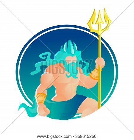Character Poseidon Wearing Crown And Trident. God Of Sea And Ocean. Greece Ancient Deity With Muscul