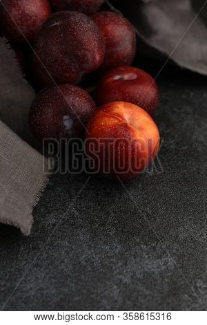 Natural Plums Fruit Background. Wet Red Plum In The Foreground. Blue Fresh Plums On Grey Stone Textu