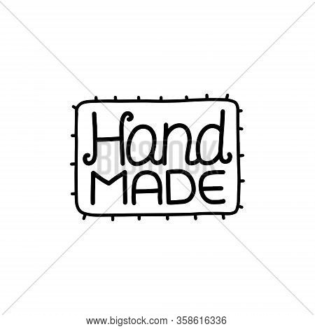 Handmade Logo. Perfect For Needlework Labeling. Black And White Vector Illustration.